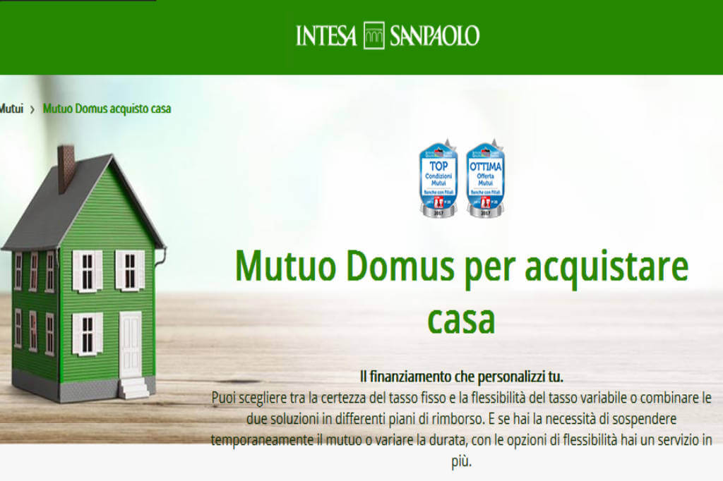 Acquista la tua casa con mutuo domus di intesa sanpaolo for San paolo mutuo 100