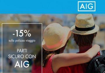 Parti sicuro con AIG e risparmia il 15% sull'assicurazione viaggio