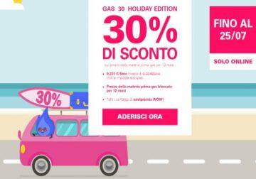 Enel Energia Holiday 30, la tua offerta luce e gas scontata del 30%