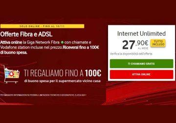 Attiva online l'offerta Internet Unlimited e ricevi fino a 100 € di buono spesa