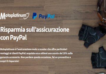 Motoplatinum  e PayPal: 20% di sconto sulla polizza moto