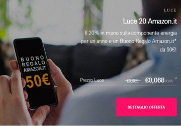 Passa ad Enel Luce e Gas, in omaggio 50€ Amazon